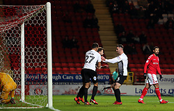 Gwion Edwards of Peterborough United is congratulated by team-mates Steven Taylor and Andrew Hughes after scoring - Mandatory by-line: Joe Dent/JMP - 28/11/2017 - FOOTBALL - The Valley - Charlton, London, England - Charlton Athletic v Peterborough United - Sky Bet League One