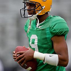 18 April 2009: LSU Tigers quarterback Jordan Jefferson (9) on the field during the 2009 LSU spring football game at Tiger Stadium in Baton Rouge, LA.