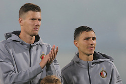 Michiel Kramer of Feyenoord, Steven Berghuis of Feyenoord during the UEFA Champions League group F match between Feyenoord Rotterdam and Manchester City at the Kuip on September 13, 2017 in Rotterdam, The Netherlands