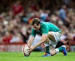 Jack Carty of Ireland lines up a kick at goal<br /> <br /> Photographer Simon King/Replay Images<br /> <br /> Friendly - Wales v Ireland - Saturday 31st August 2019 - Principality Stadium - Cardiff<br /> <br /> World Copyright © Replay Images . All rights reserved. info@replayimages.co.uk - http://replayimages.co.uk