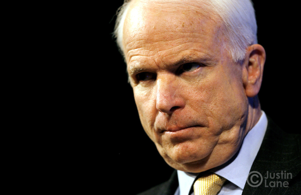 """Sen. John McCain (R - Arizona) speaks during an event labeled as an """"Exchange of Ideas"""" at a theater in New York, New York on Thursday 08 March 2007. McCain, who has unofficially announced that he is running to be President of the United States, spoke to supporters about issues and took questions from the audience."""