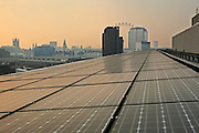 Solar Photovoltaic (PV) Panels cover the roof of Palestra House, the home of the London Climate Change Agency and the London Development Agency. This flagship renewable energy project was designed by award winning architect Will Alsop.