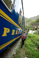 Travel by the PeruRail to the town of Aguas Calientes. Aguas Calientes is a town in Peru on the Urubamba (Vilcanota) River. It is the closest access point to the sacred Incan city of Machu Picchu which is 6 kilometers away. The town has natural hot springs, which give its name (hot waters in Spanish).