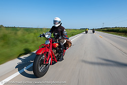 Andrea Labarbara riding her 1934 Indian 4-cylinder during the Cross Country Chase motorcycle endurance run from Sault Sainte Marie, MI to Key West, FL (for vintage bikes from 1930-1948). Stage 4 saw a 315 mile ride from Urbana, IL to Bowling Green, KY USA. Monday, September 9, 2019. Photography ©2019 Michael Lichter.