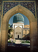 Entrance of Guri Amir Mausoleum, where Amir Tumir was buried with his 2 sons in the fabled city of Samarkand, on the ancient Silk Road. Uzbekistan.