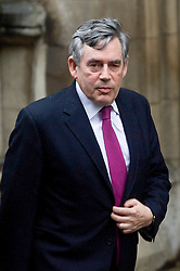 © Licensed to London News Pictures. 11/06/2012. London, UK. Former British Prime Minister Gordon Brown arriving at the Leveson Inquiry in to press standards at the Royal Courts of Justice in London on June 11, 2012. Photo credit : Thomas Campean/LNP..