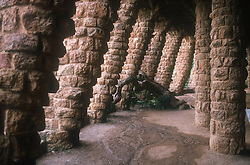 Parc Guell; Barcelona; Catalunya; with stone columns designed by Gaudi,