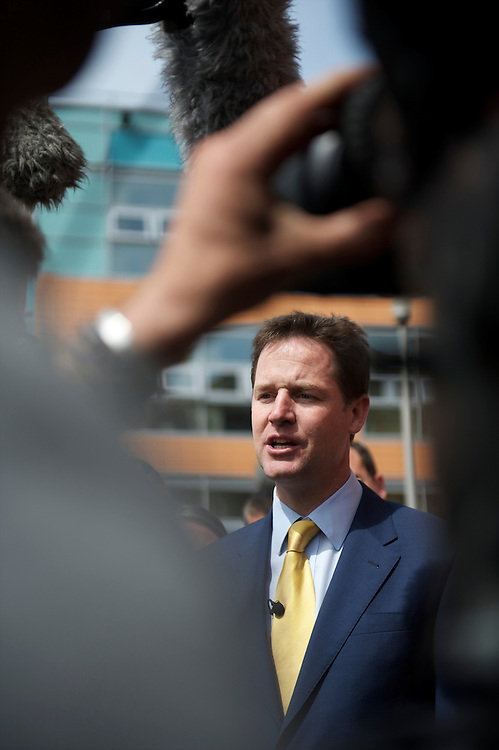 Liberal Democrat leader Nick Clegg and Shadow Chancellor Vince Cable campaign on 27 April 2010, visiting Southampton General Hospital in Southhampton, UK.  With the general election looming on 6 May 2010, predicted to be one of the closest and most fiercely fought in decades, candidates are campaigning at a torrid pace, holding many events throughout the UK.