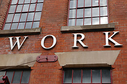 Regeneration of the old building 'Provident Works' in Nottingham with 'Provide' sign on the front,