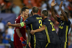 September 19, 2018 - Valencia, Spain - Wojciech Szczesny  celebrates the stopped penalty with his teammates during Group H match of the UEFA Champions League between Valencia CF and Juventus at Mestalla Stadium on September 19, 2018 in Valencia, Spain. (Credit Image: © Jose Breton/NurPhoto/ZUMA Press)