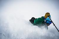 Erme Catino drops into bliss, Alta backcountry, Utah.