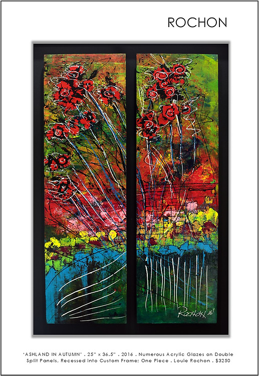 """'Ashland in Autumn' . 25"""" x 36"""" . Acrylic and Inks on two panels, mounted within custom frame . 2016<br /> <br /> Inspired from a walk on a crisp Autumn day in Lithia park in Ashland Oregon, one of which will forever be etched in my mind (and on film) - one of the most beautiful places I've ever been. The reflections of the Japanese gardens, or what I perceived as Japanese gardens, was breathtaking. These are my memories, in abstract.<br /> <br /> Numerous acrylic washes and layered glazes created the luminous effects of the glowing gardens. Again, a unique, one of a kind piece that could never be duplicated, completely custom including the frame.<br /> <br /> This piece is comprised of two panels, (1/2"""" deep, 18.5 x 28.5), that I've mounted (raised significantly for effect) within a custom frame (photos included). Of course the artwork can be removed and mounted as a buyer may wish but I find the effect dramatic and showcases the art well. I've added a distinctive green inner wooden accent liner within the frame.<br /> <br /> This is a striking piece.<br /> <br /> Many layers within this work - many. One of my favorite pieces - has an Asian flair to it. Peaceful gardens appeared in the background."""