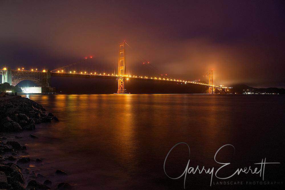 Golden Gate Bridge in San Francisco on a rainy morning.