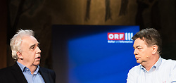 """20.03.2019, Radio Kulturhaus, Wien, AUT, Ö1, Sendung """"Klartext"""" zur Europawahl 2019, im Bild EU-Spitzenkandidat Johannes Voggenhuber (JETZT) und EU-Spitzenkandidat Werner Kogler (Grüne) // during political discussion of the Austrian Broadcasting Corporation according to EU elections 2019 in Vienna, Austria on 2019/03/20, EXPA Pictures © 2019, PhotoCredit: EXPA/ Michael Gruber"""