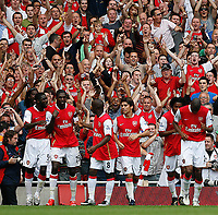 Photo: Steve Bond.<br />Arsenal v Derby County. The FA Barclays Premiership. 22/09/2007. Emmanuel Adebayor (second, left) celebrates his hat trick