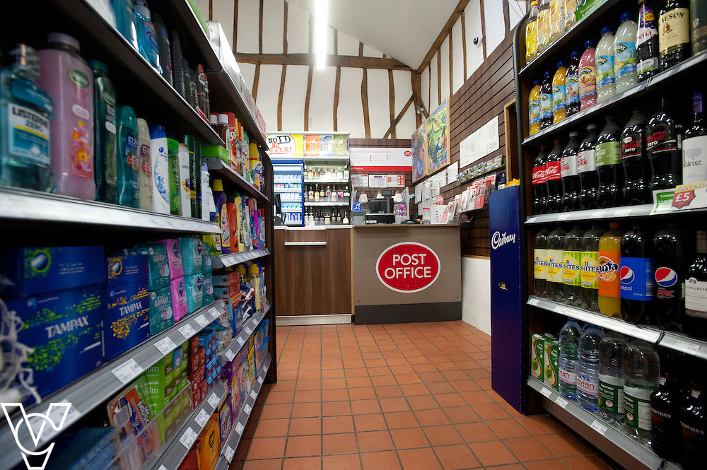 Pictured is the inside of Barley Post Office<br /> <br /> Barley Post Office, Church End, Royston, Hertfordshire.<br /> Date: January 23, 2015