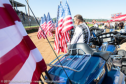 Grand entry at the Spirit of Sturgis races at the fairgrounds during the Sturgis Black Hills Motorcycle Rally. Sturgis, SD, USA. Monday, August 5, 2019. Photography ©2019 Michael Lichter.