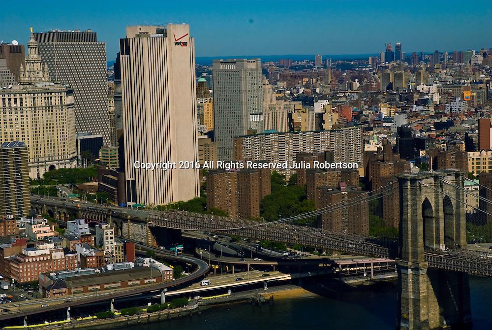 AErial views of the Brooklyn Bridge view towards manhattan