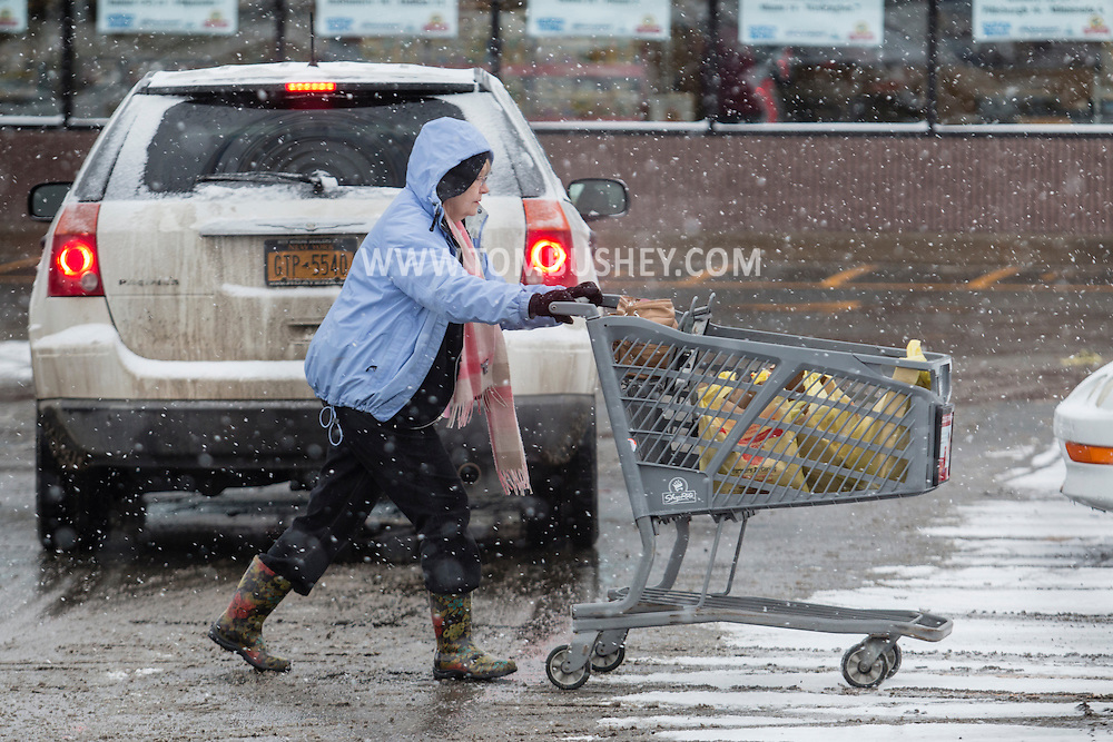A woman pushes her grocery cart through the falling snow in the ShopRite parking lot in Middletown, New York. People were buying food in advance of the blizzard forecast to hit Orange County.  The county declared a state of emergency later in the day.