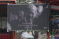 Football - 2020 / 2021 Sky Bet Championship - AFC Bournemouth vs. Coventry City - The Vitality Stadium<br /> <br /> The big screen shows a portrait of HRH Prince Phillip The Duke of Edinburgh who past away yesterday whilst the stadium observes a two minute silence at the Vitality Stadium (Dean Court) Bournemouth <br /> <br /> COLORSPORT/SHAUN BOGGUST