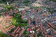 Nederland, Zeeland, Gemeente Sluis, 09-05-2013;  Oostburg, hoofdplaats van de gemeente Sluis. Overzicht.<br /> Oostburg is tijdens de Tweede Wereldoorlog zwaar beschadigd en vrijwel geheel herbouwd (naoorlogs wederopbouwgebied). Links van het midden de Kroonwijk met gereconstrueerd bastion.<br /> The village of Oostburg (Zeeland) is heavily damaged during World War II and almost completely rebuilt. A reconstructed bastion in the park. <br /> luchtfoto (toeslag op standard tarieven);<br /> aerial photo (additional fee required);<br /> copyright foto/photo Siebe Swart.