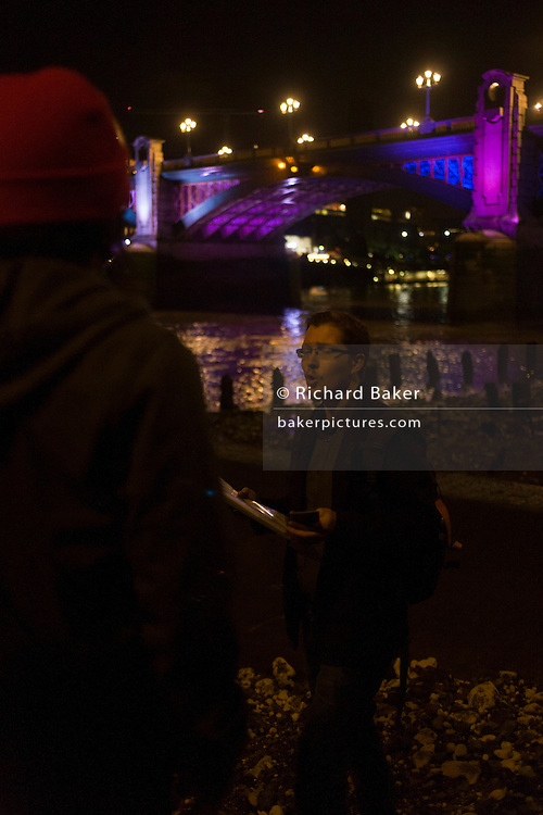 Psychogeography writer Tom Chivers ends his night walk with fellow pilgrims on the Thames foreshore, after an evening following the River Walbrook.