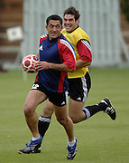 Photo: Richard Lane.<br /> New Zealand Maori training at Rugby School. Barclays Churchill Cup 2007. 21/05/2007.<br /> Maori's Rua Tipoki attacks.