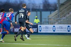 Falkirk's Aaron Muirhead scoring their first goal from the penalty spot. Falkirk 3 v 1 Inverness Caledonian Thistle, Scottish Championship game played 27/1/2018 at The Falkirk Stadium.