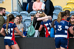 Amber Reed (capt) and the Bristol Ladies players are consoled by their friends and families in the stands after losing in the Play Off Final having finished the regular season top of the league - Rogan Thomson/JMP - 23/04/2017 - RUGBY UNION - Sixways Stadium - Worcester, England - Bristol Ladies Rugby v Aylesford Bulls - Women's Premiership Final.
