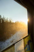 Looking outside from the BAM (Baikal-Amur Mainline), Siberia, Russia