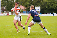 Bradford Bulls second row James Bentley (20) powers through to score a try to make the score  16-26 during the Kingstone Press Championship match between Swinton Lions and Bradford Bulls at the Willows, Salford, United Kingdom on 20 August 2017. Photo by Simon Davies.