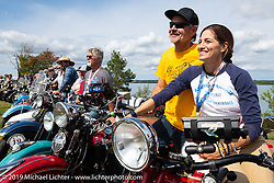 Andrea Labarbara and her husband Bob Zeolla lined up for the panorama portrait in Aune Osborne Park in Sault Sainte Marie, the site of the official start of the Cross Country Chase motorcycle endurance run from Sault Sainte Marie, MI to Key West, FL. (for vintage bikes from 1930-1948). Thursday, September 5, 2019. Photography ©2019 Michael Lichter.