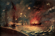 The Bombardment of Port Hudson [The Siege of Port Hudson, Louisiana, (May 22 – July 9, 1863) was the final engagement in the Union campaign to recapture the Mississippi River] Color artwork painting from the book ' The Civil war through the camera ' hundreds of vivid photographs actually taken in Civil war times, sixteen reproductions in color of famous war paintings. The new text history by Henry W. Elson. A. complete illustrated history of the Civil war