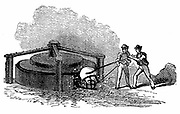 Putting ball of white-hot iron into a rotary squeezer to remove the slag and cinder, and force the metal into the shape of a cylinder or 'bloom'. Phoenix Iron and Bridge Works, Phoenixville, Pennsylvania. From'The Science Record', New York, 1873. Engraving.