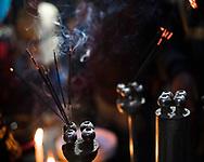 Incense burning at a Hindu temple in New Delhi, India