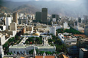 Downtown Caracas, Venezuela; city view with mountains behind.