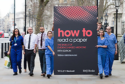 © Licensed to London News Pictures. 21/01/2016. London, UK. Junior doctors and senior academics deliver a letter to Jeremy Hunt at the Department of Health calling for him to stop using misleading statistics for political gain. Photo credit : Vickie Flores/LNP