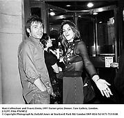 Matt Collinshaw and Tracey Emin, 1997 Turner prize Dinner. Tate Gallery, London. 2/12/97. Film 97658f12<br /> © Copyright Photograph by Dafydd Jones<br /> 66 Stockwell Park Rd. London SW9 0DA<br /> Tel 0171 733 0108