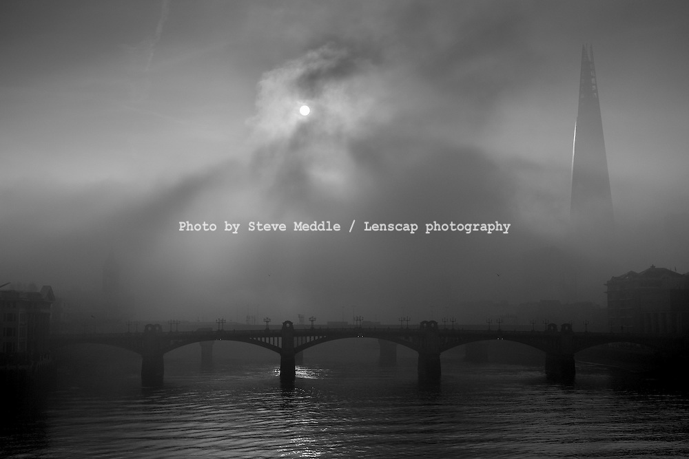 Heavy Fog over the River Thames This Morning - 13 Mar 2014.<br /> SME