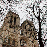 Europe, France, Paris. Belltowers of Notre-Dame Cathedral.