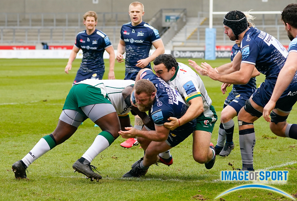 Sale Sharks hooker Akker Van Der Merwe is tackled by London Irish Hooker Agustín Creevy during a Gallagher Premiership Round 14 Rugby Union match, Sunday, Mar 21, 2021, in Eccles, United Kingdom. (Steve Flynn/Image of Sport)