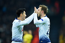 February 13, 2019 - London, England, United Kingdom - Tottenham forward Heung-Min Son celebrates his goal with Christian Eriksen during the UEFA Champions League match between Tottenham Hotspur and Ballspielverein Borussia 09 e.V. Dortmund at Wembley Stadium, London on Wednesday 13th February 2019. (Credit: Jon Bromley | MI News & Sport Ltd) (Credit Image: © Mi News/NurPhoto via ZUMA Press)