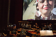 Brooklyn, NY - 20 January 2015. The dress rehearsal of Sufjan Stevens' Round-Up, with slow motion film of the Pendleton, Oregon Round-Up by Aaron and Alex Craig, music performd by Sufjan Stevens and Yarn/Wire. Composer Sufjan Stevens on the keyboard, Russell Greenberg and Ian Antonio on percussion.