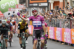 May 18, 2018 - Nervesa Della Battaglia, ITALY - Italian Elia Viviani of Quick-Step Floors celebrates at the stage 13 of the 101st edition of the Giro D'Italia cycling tour, 180km from  Ferrara to Nervesa della Battaglia, Italy, Friday 18 May 2018...BELGA PHOTO YUZURU SUNADA FRANCE OUT (Credit Image: © Yuzuru Sunada/Belga via ZUMA Press)