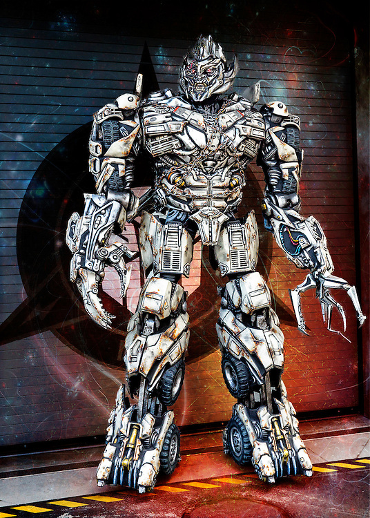 Megatron trying to release his fury on the world at Universal Studios in Orlando, Florida.