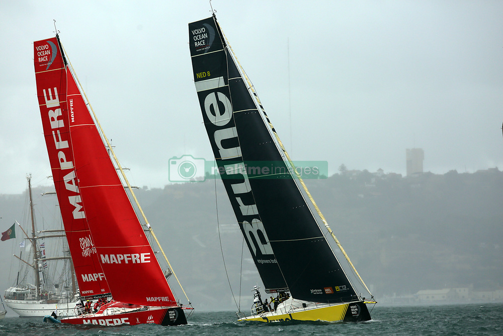November 3, 2017 - Lisbon, Portugal - MAPFRE team captained by Spanish Xabi Fernandez (L ) and Team Brunel captained by Dutch Bouwe Bekking in action during the Volvo Ocean Race 2017-2018 In-port Race at the Tagus River in Lisbon, Portugal on November 3, 2017. (Credit Image: © Pedro Fiuza/NurPhoto via ZUMA Press)