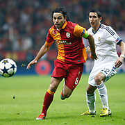 Galatasaray's Selcuk Inan (L) and Real Madrid's Angel Di Maria (R) during their UEFA Champions League Quarter-finals, Second leg match Galatasaray between Real Madrid at the TT Arena AliSamiYen Spor Kompleksi in Istanbul, Turkey on Tuesday 09 April 2013. Photo by Aykut AKICI/TURKPIX