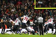 Houston Texan's kicker, Ka'imi Fairbairn (7) kicks an extra point during the NFL game between Houston Texans and Jacksonville Jaguars at Wembley Stadium in London, United Kingdom. 03 November 2019
