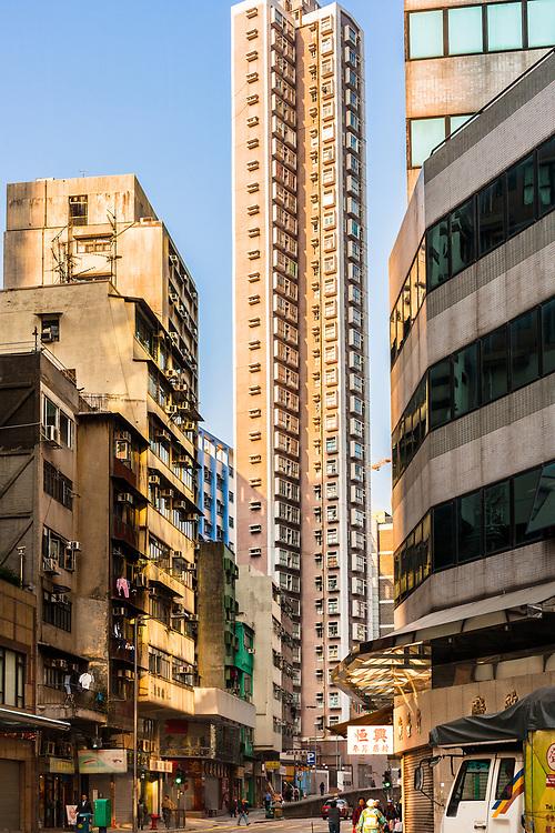 Hong Kong, China, Asia - Tall residential skyscraper of apartments in Central Hong Kong.