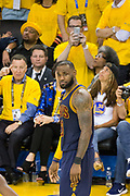 Cleveland Cavaliers forward LeBron James (23) reacts to a foul called against him during Game 1 of the NBA Finals against the Golden State Warriors at Oracle Arena in Oakland, Calif., on June 1, 2017. (Stan Olszewski/Special to S.F. Examiner)